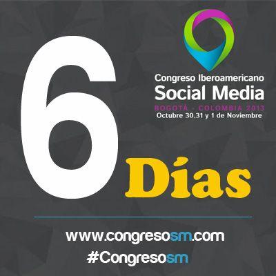 ¡Faltan 6 Días para el #CongresoSM y #PremiosSM 2013! Registro aquí presencial y virtual: www.congresosm.com