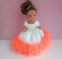 "Rio 4"" doll dress For 4"" doll 4ply yarn 3.25 Needles Cast on 56 stitches in contrast eye lash yarn for hem Knit 1 row Change ..."