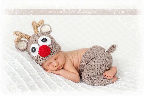 Crochet reindeer Set, Newborn reindeer hat, Baby reindeer hat, Ecru reindeer hat
