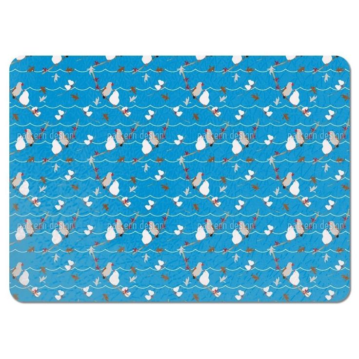 Uneekee Lovebirds Blue Placemats (Set of 4) (Lovebirds Blue Placemat) (Polyester, Kids)