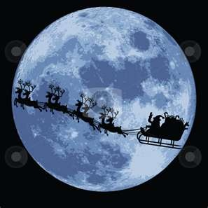 Santa's sleigh in front of the full moon.  According to a tradition which can be traced to the 1820's, Santa Claus lives at the North Pole, with a large number of magical elves, and nine (originally eight) flying reindeer.