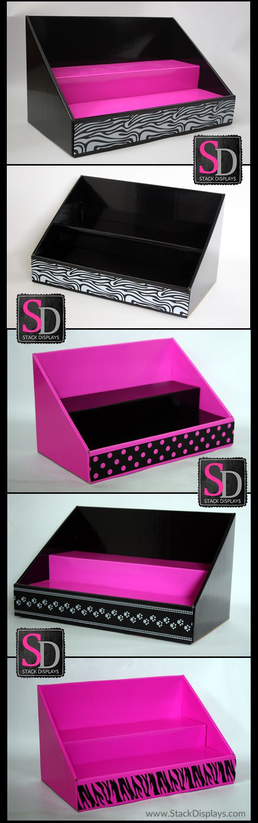 Original Pink and Black Stack Displays with various designs available. Great for Consultants with Mary Kay, Pure Romance, Perfectly Posh, Pink Zebra Home, Passion Parties and more!