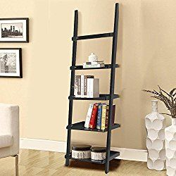 go2buy Modern Black Wood 5 Tier Leaning Ladder Shelf Bookcase Bookshelf 70 Inch Book DVD CD Display Storage Shelves Unit