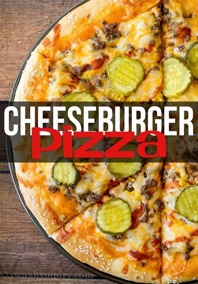 I've been dreaming of making this Cheeseburger Pizza for months! I've combined two of my favorites into one, out of this world party food! Don't reserve this pizza just for parties though, it's also perfectly acceptable for any day of the week. The day I first made this pizza, my husband was out on a bike ride and came home super hungry. Right as I pulled it out of the ovenhe walked through the garage door. He looked at the pizza, looked at me, and said, 'Pickles? ...On a...