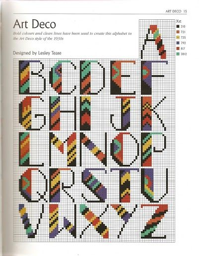art deco alphabet cross stitch                                                                                                                                                                                 More