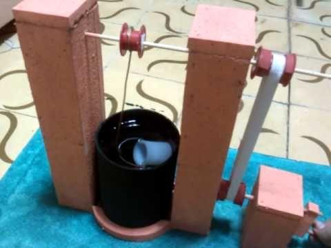 Maqueta pozo, sistema de manivela (maquina simple)