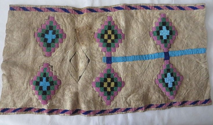 Vintage Native American Beaded Deer skin Diamond design motif unfinished project