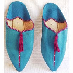 Authentic Imported Moroccan Handmade leather light blue and pink babouche size 38 / size 4 for R350.00