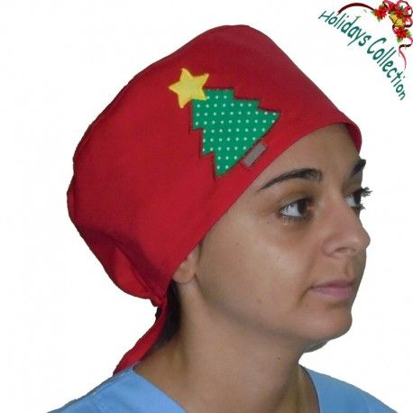 Scrub hat suitable for all medical uses. Happy Christmas spirit with a wonderful tree on one side of this lovely scrub.