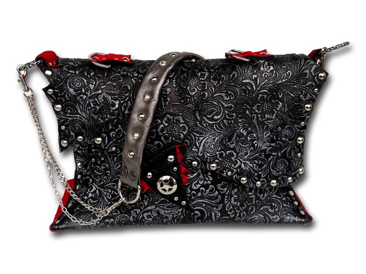 Handmade leather bag (black/silver/red cavallino)