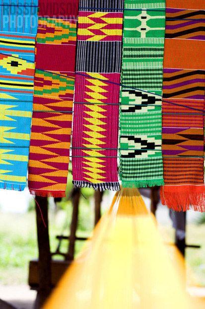 Ghana - TextilesDifferent shades of Kente cloth.