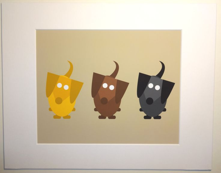 Three Dachshunds Sitting Art Print matted and by FureverDachshund, $23.00