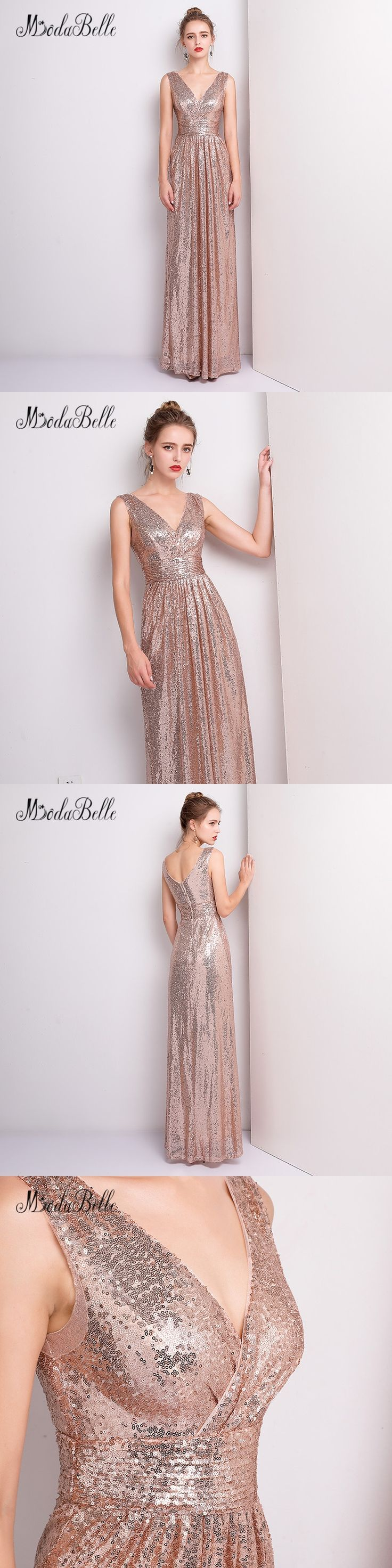 modabelle 2018 Rose Gold Sequin Bridesmaid Dress Long Adult Cheap Sparkle Wedding Party Dresses Vestido De Dama De Honra