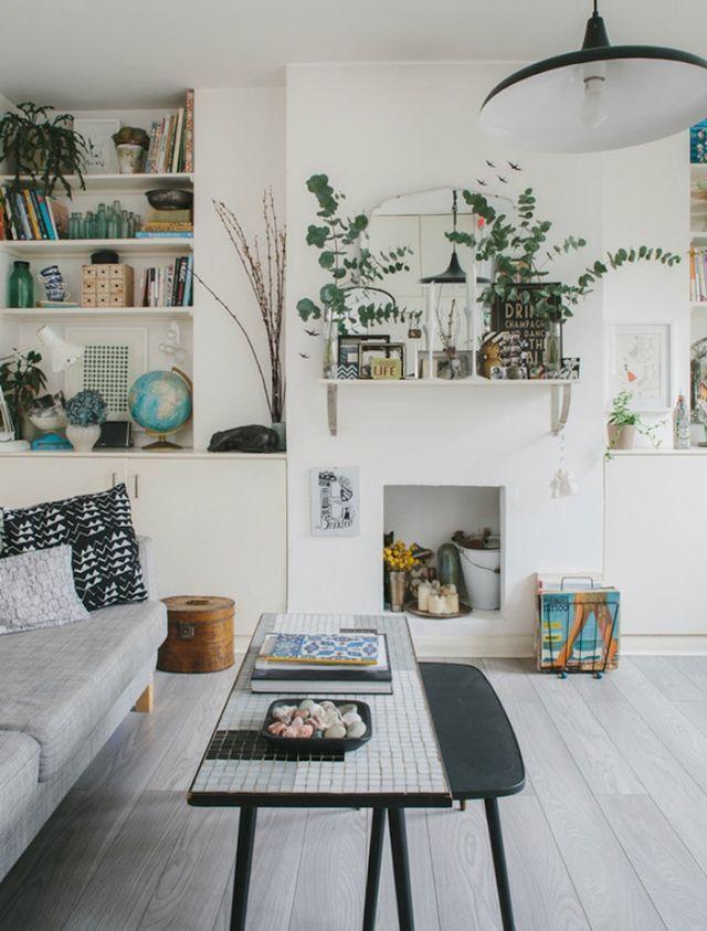 salon, blanc et plantes