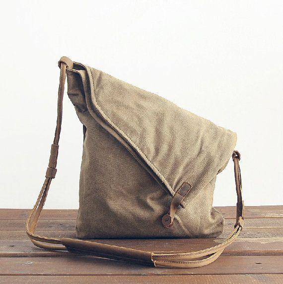 Genuine Cow leather bag canvas bag BACKPACK by Stevenhandmade
