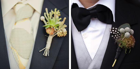 """The perfect """"manly man""""'s boutonniere with silver brunia berry and other more masculine floral accents"""