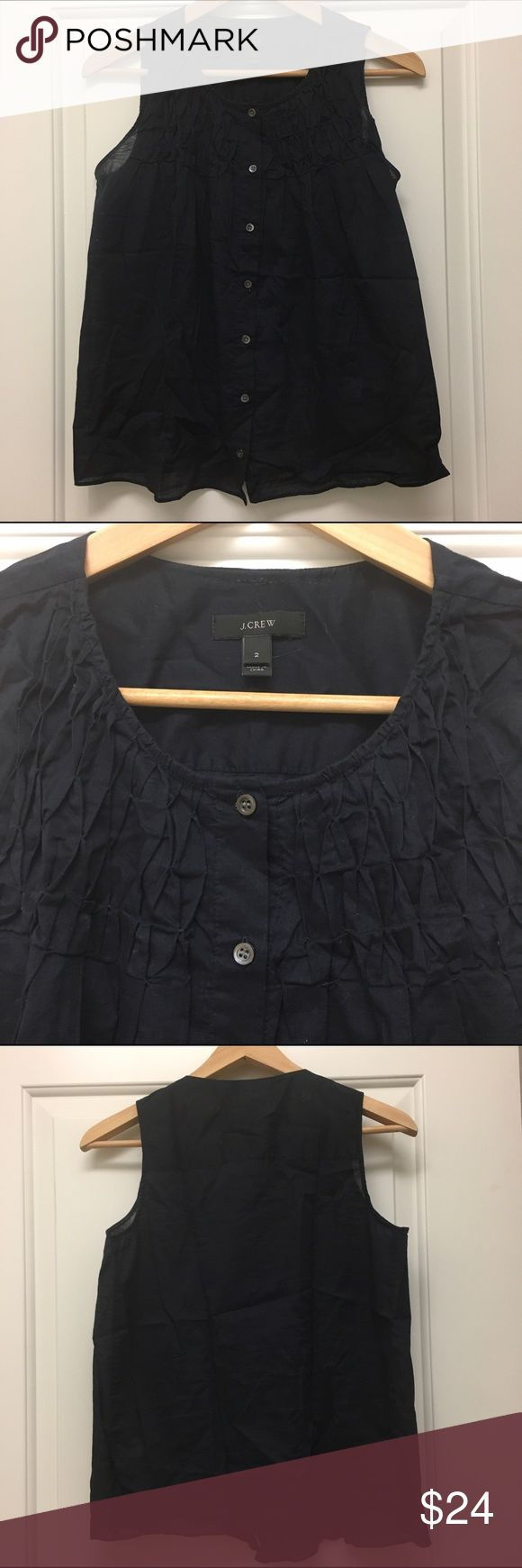 J.Crew black smocked top Breezy and flattering cotton smocked top from jcrew. Very comfortable. Some wear but no damage. Machine wash. J. Crew Tops Tank Tops