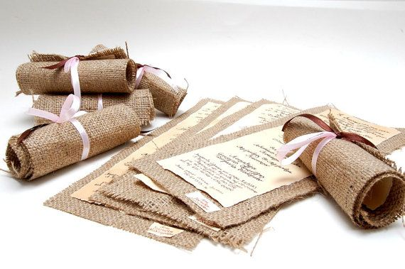 Wedding Invitations Vintage Burlap Invitations di LenaWeddings