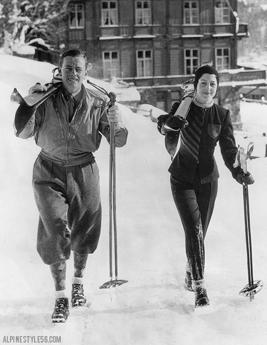 1/7/1939 Press Photo: St. Moritz, Switzerland. . . Escorted by the Marquis of Milford Haven, Princess Alexandria of Greece, Royal Coat of Arms embroidered on her ski jacket, is shown setting out for a ski jaunt at St. Moritz, where the society winter season is now in full swing.