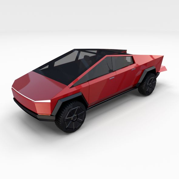 Tesla Cybertruck Red Tesla 3d Model Car
