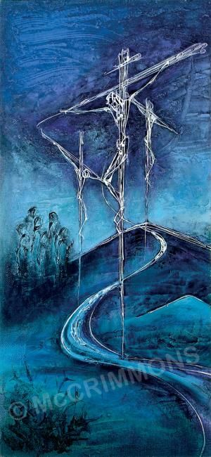 "Crucifixion Banner by Sr. Mary Stephen CRSS 46"" x 24"" £156.00 ref. BAN555"