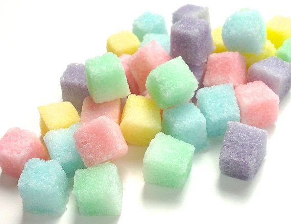 Pretty pastel sugar cubes for champagne, cocktails, coffee, and tea