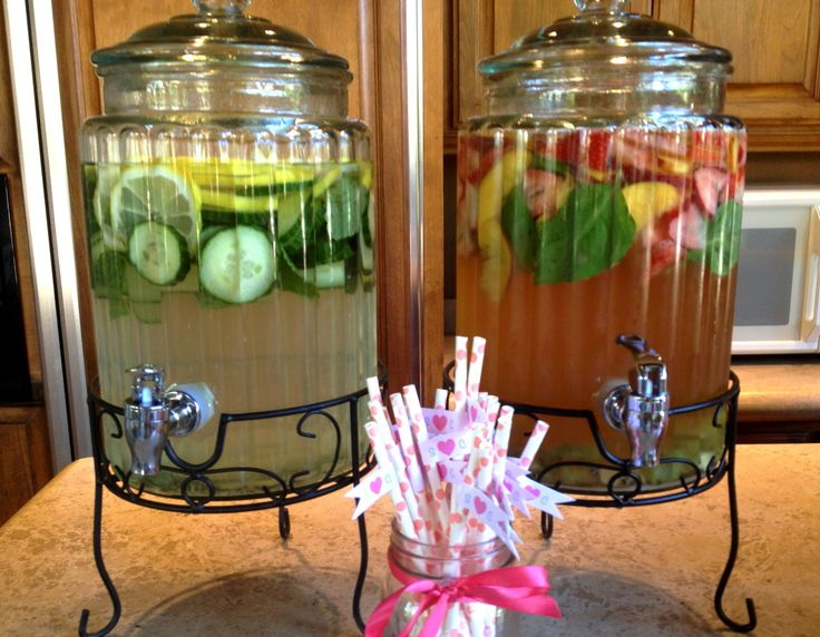 "Perfect drinks for a bridal shower - Stone Fruit & Strawberry Sangria and ""Spa Water"" with lemon, mint, and cucumber. Yum!"