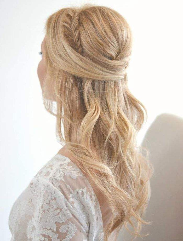 long wedding hairstyle with gorgeous side braid - Deer Pearl Flowers