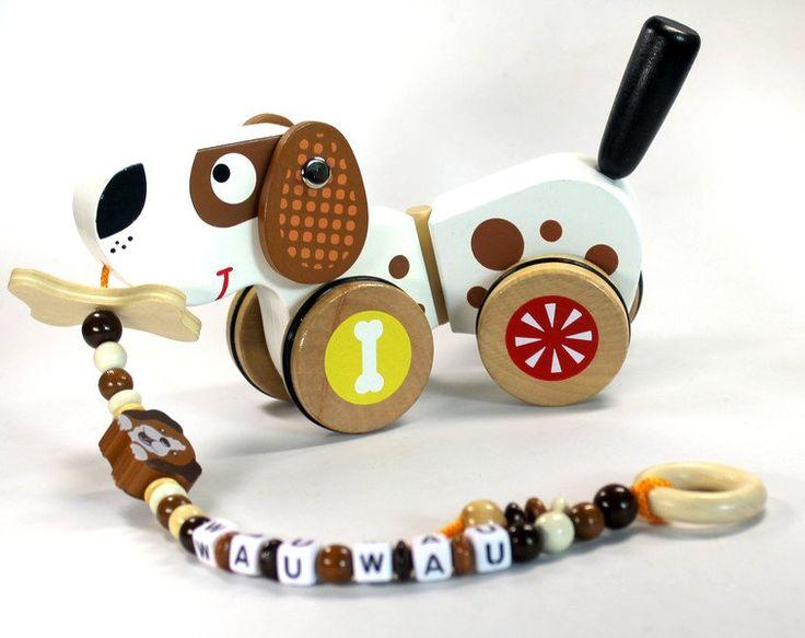 Holzspielzeug - Ziehtier Hund mit Namen Nachziehtier Ziehtier - ein…