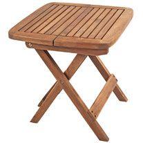 Mesa auxiliar de madera de acacia y estilo rústico, perfecta para colocar en cualquier rincón de tu jardín donde necesites más espacio para dejar cosas. Medidas (alto...
