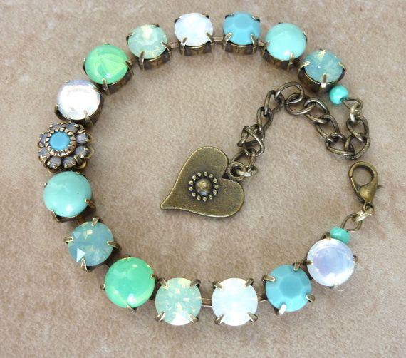 swarovski crystal and gemstone bracelet- turquoise- opals- moonstones-not sabika but better
