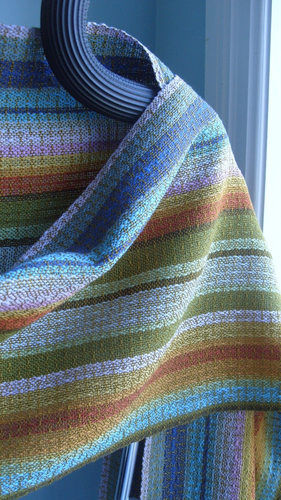 mixed warp for each sis towel ove the stripes  Handwoven Shawl  by barefootweaver