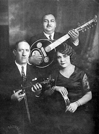 """""""Photo of Smyrna Style Trio (1932) D. Semsis, A. Tomboulis, R. Eskenazi (Athens, 1932)"""