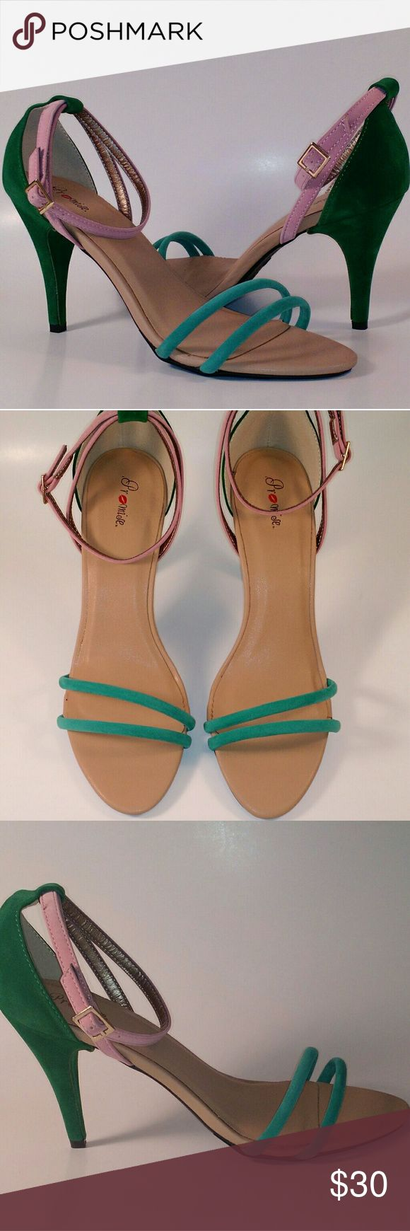 MULTI COLOR STRAPPY HEELS Nubuck material. Pink/green/turquoise. Approximately 3 1/2 inch heel. Shoes Heels