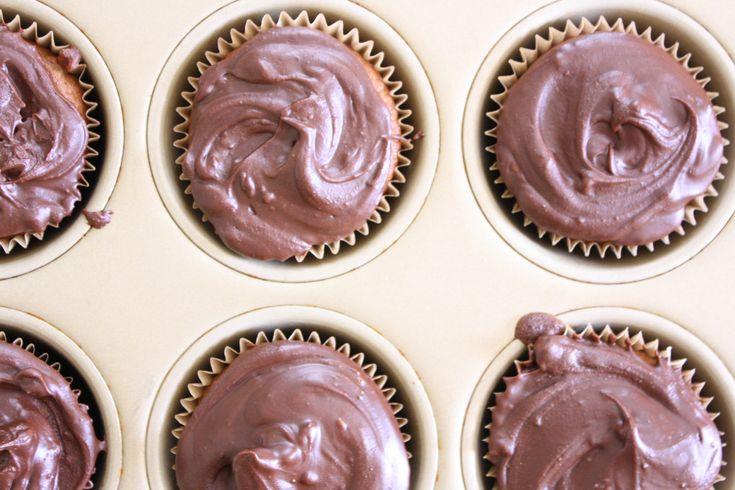 Paleo Vanilla Cupcakes With Chocolate Frosting: Gluten free, grain free, dairy free, delicious! #paleobarbie