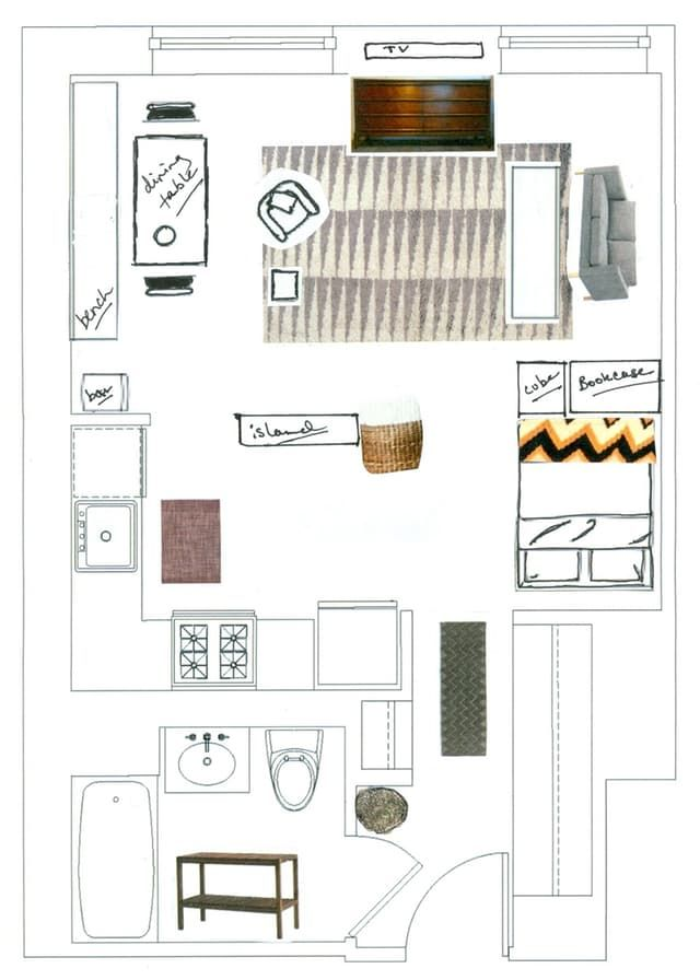 25 best ideas about one room apartment on pinterest for Studio apartment floor plans furniture layout