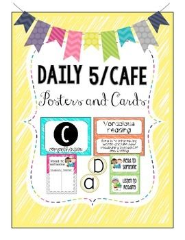 BRIGHT Daily 5/CAFE Posters and Strategy Cards by Kinder Happenings