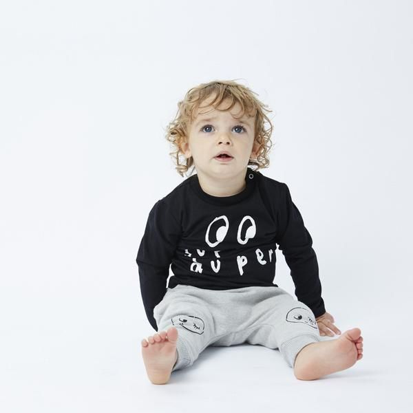 Minti baby Furry Baby Brox Trackies in Grey Marle featuring baby face.  Match back with a Minti long sleeve tee. Perfect for a little girl or boy.  Machine washable.
