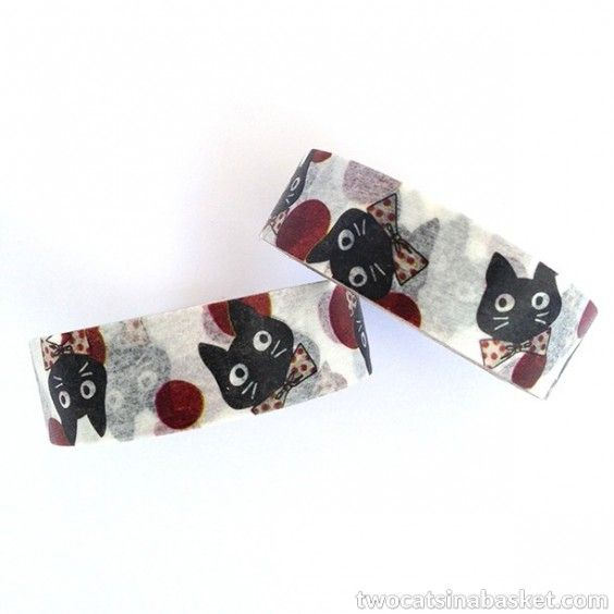 Washi Tape Dots Bow Tie Cat - TWO CATS IN A BASKET