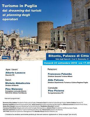 Turismo in Puglia il 23 settembre lOnorevole Losacco a Bitonto