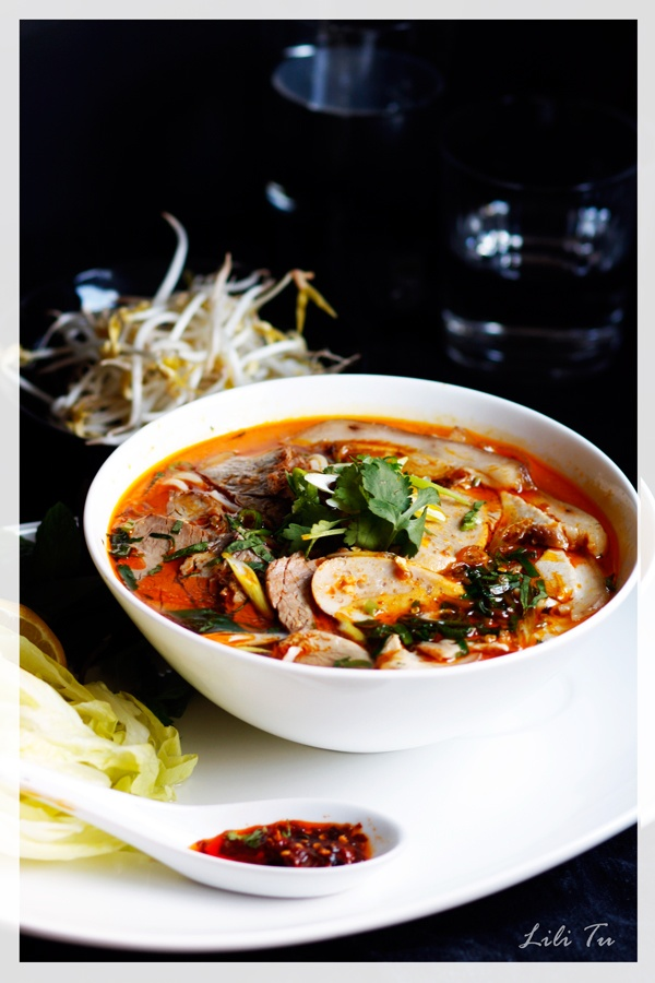 Hot and spicy Hue Beef noodle soup -Bún bò Huế.