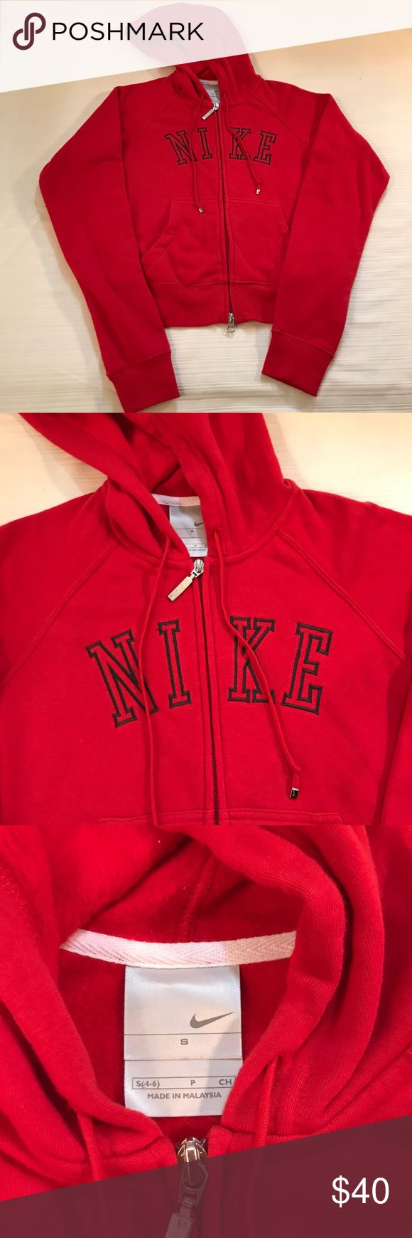 Nike zip up hoodie Red zip up hoodie Nike Sweaters