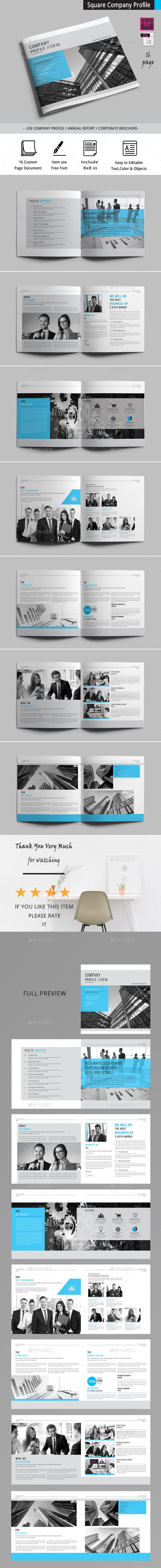 Square Company Profile Brochure Template InDesign INDD - 16 Pages