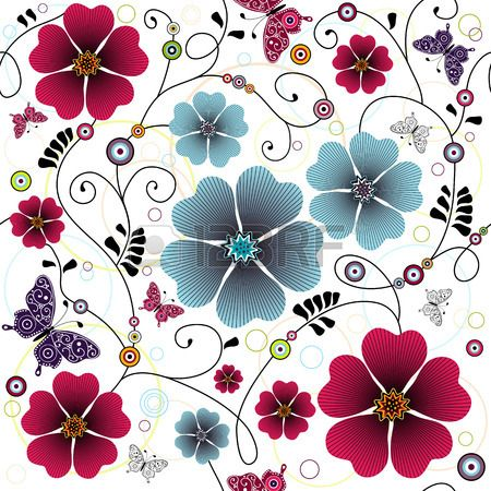 Motivo floreale senza saldatura con riccioli, farfalle e palle