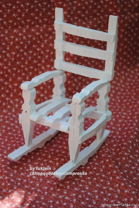 Miniature rocking chair made from wooden clothespins - (my doll used to have one of these when I was little!)