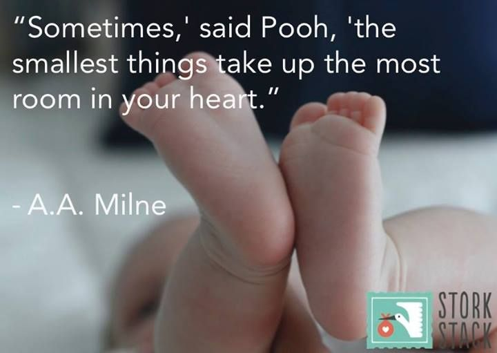"""""""Sometimes,' said Pooh, 'the smallest things take up the most room in your #heart."""" ― A.A. Milne #baby #quotes"""