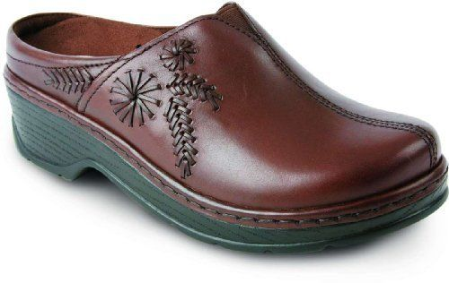 """Klogs USA Women's Fierentino Clog Klogs. $69.95. Heel measures approximately 2"""". Platform measures approximately 0.75"""" . High-back rim for foot security. The brushed leather upper features a flower stitch pattern for an intricate, hand-sewn look. leather. The removable Klogs(r) Komfort footbed provides soft cus. Sole is slip-resistant, oil-resistant, non-marking, and shock absorbent. Rubber sole"""