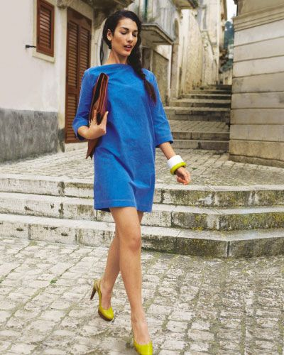 Free pattern - blue shift dress with 3/4 sleeves, site in German