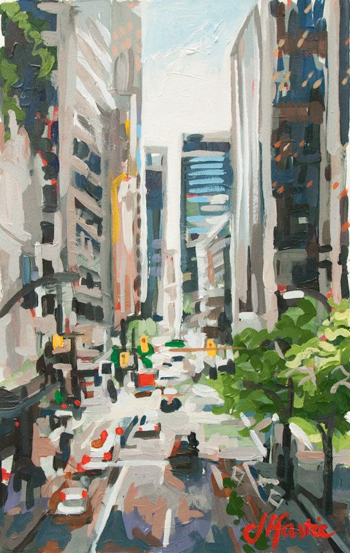 Love this Vancouver artist Joanne Hastie. Downtown Skyscrapers Vancouver no. 09 8 x 12