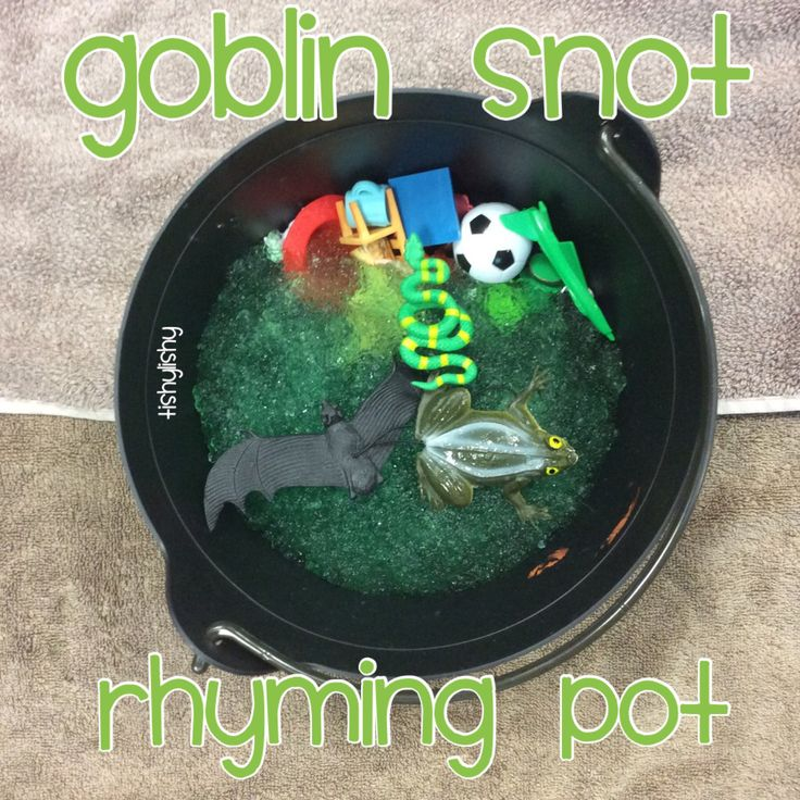 Goblin snot rhyming pot Jelli Baff or nappy crystals and objects to pick out.